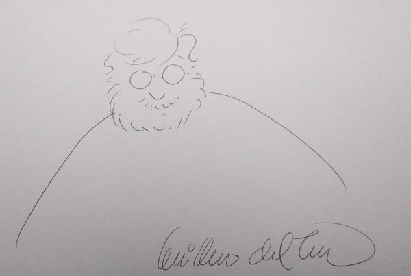 Cartoon sketch drawn and signed by Guillermo del Toro.