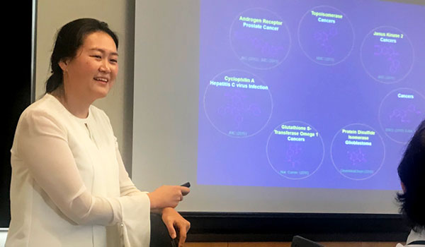 Dr. Suhui Yang (AUHS) making a research presentation in the Cancer Seminar Series at CDU.