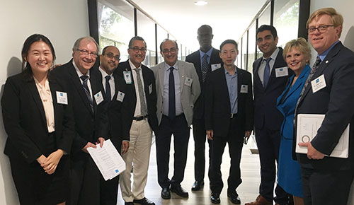 Representatives from AUHS and CDU at a site visit from ACPE - L-R: Dr. Suhui Yang (AUHS), Dr. John Schloss (AUHS), Dr. Arjun Dutta (AUHS), Dr. Halline Overby (MD, Oncologist), Dr. Jay Vadgama (UCLA/CDU), Dr. Albert Ngo (AUHS), Dr. Yong Wu (UCLA/CDU), Dr. Amir Shirazi (AUHS), Dr. Caroll Ryan (AUHS), and Dr. William Shay (CDU)